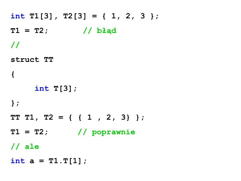 int T1[3], T2[3] = { 1, 2, 3 }; T1 = T2; // błąd. // struct TT. { int T[3]; }; TT T1, T2 = { { 1 , 2, 3} };